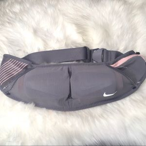 NWOT Nike Double Flask waist Belt Grey Baby Pink